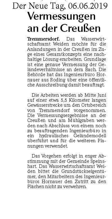 Foto des Presseartikels Tremmersdorf Vermessungen an der Creußen