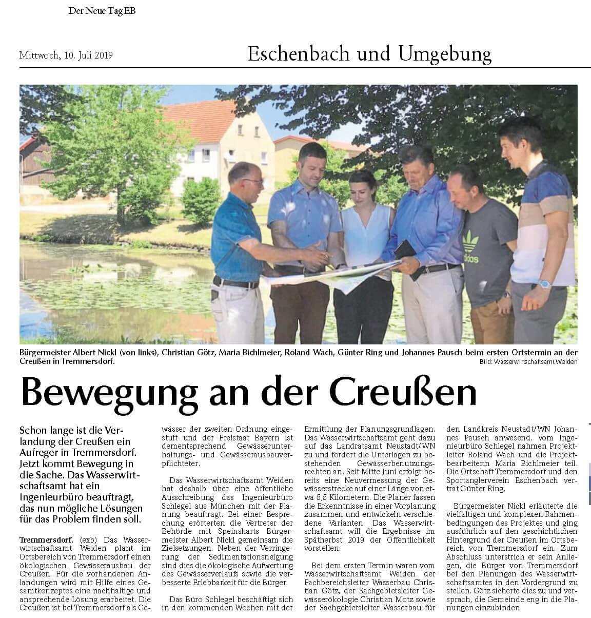 Foto des Presseartikels Tremmersdorf Bewegung an der Creußen