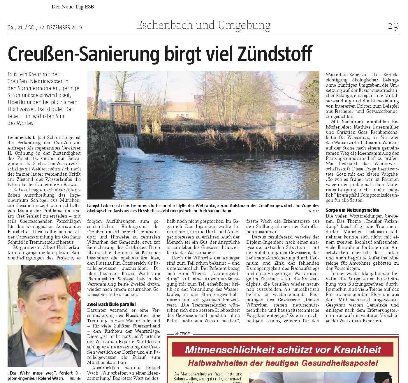 Foto des Presseartikels Tremmersdorf Creußen-Sanierung