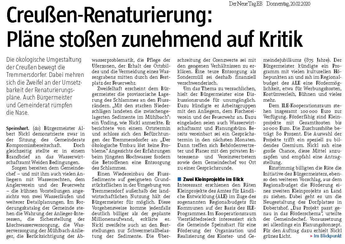 Foto des Presseartikels Speinshart Creußen-Renaturierung