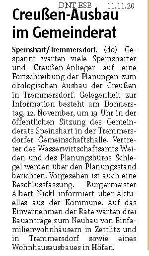 Foto des Presseartikels Speinshart Creußen-Ausbau im Gemeinderat