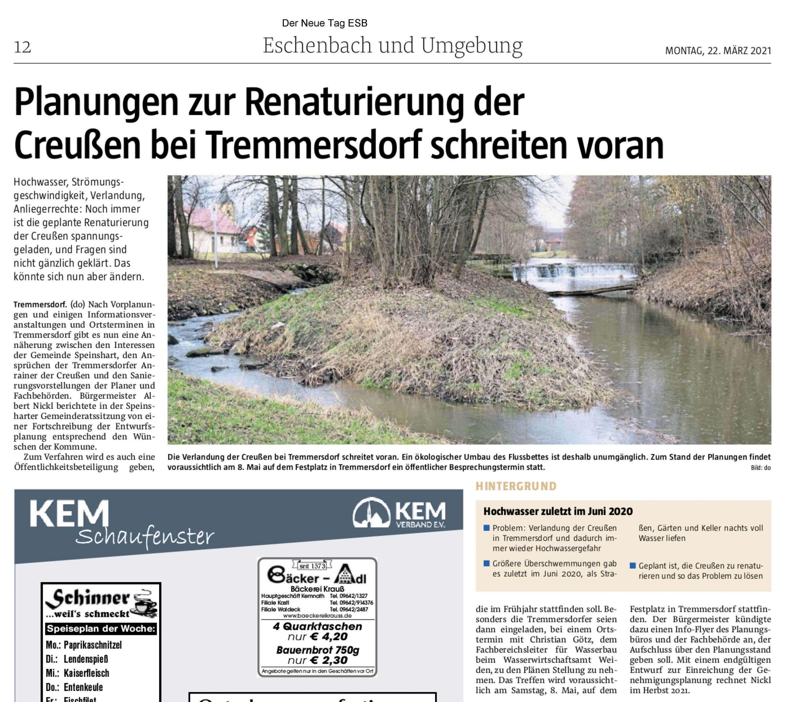 Foto des Presseartikels Tremmersdorf Renaturierung der Creußen
