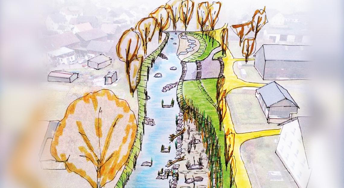 Handskizze des Ortskerns Tremmersdorf
